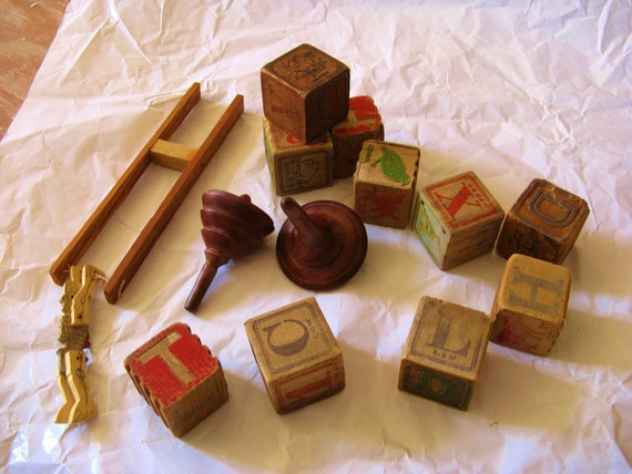 Child's Wooden Blocks, Spinning Tops and Flip Toy