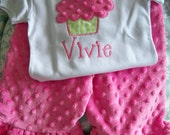 Cupcake Applique tshirt and matching Hot Pink Minky ruffle pants