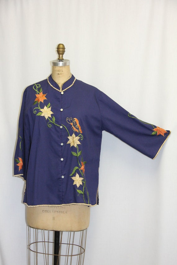 XL Vintage 1960s Tunic Embroidered Navy w Gold Green and Peach