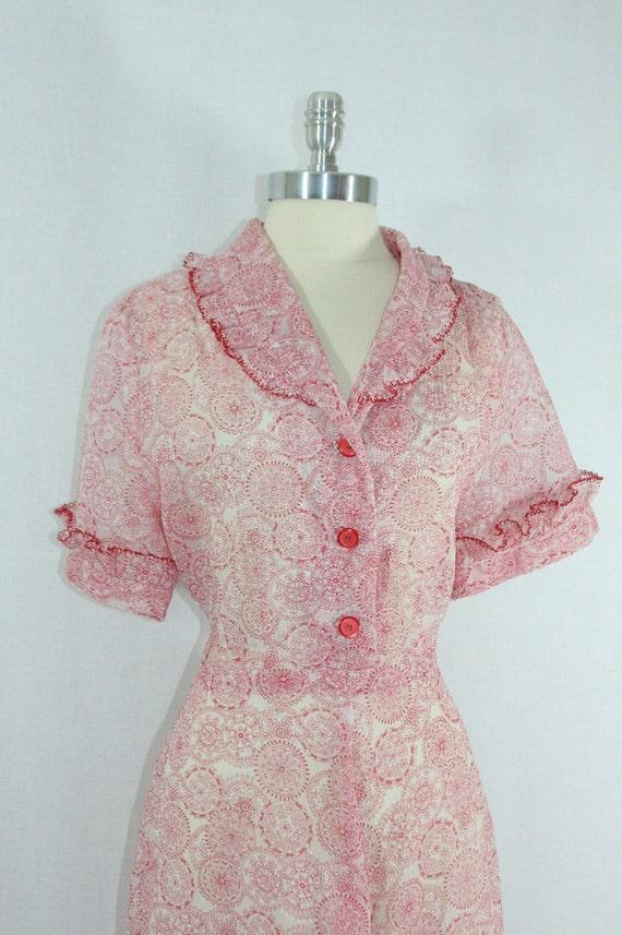 Plus size Fashion - 1940s Vintage Dress - Red and White Semi Sheer Chiffon Novelty Print Dress