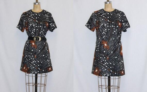 Plus Size Vintage Mini Dress Mod Bubble Print