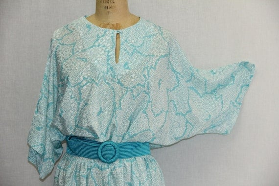 Vintage Plus Size Dress Aqua Blue and White Shimmer
