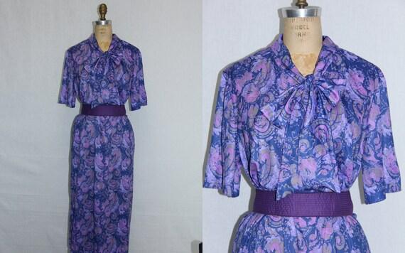 Plus Size Vintage Dress Purple Abstract Print