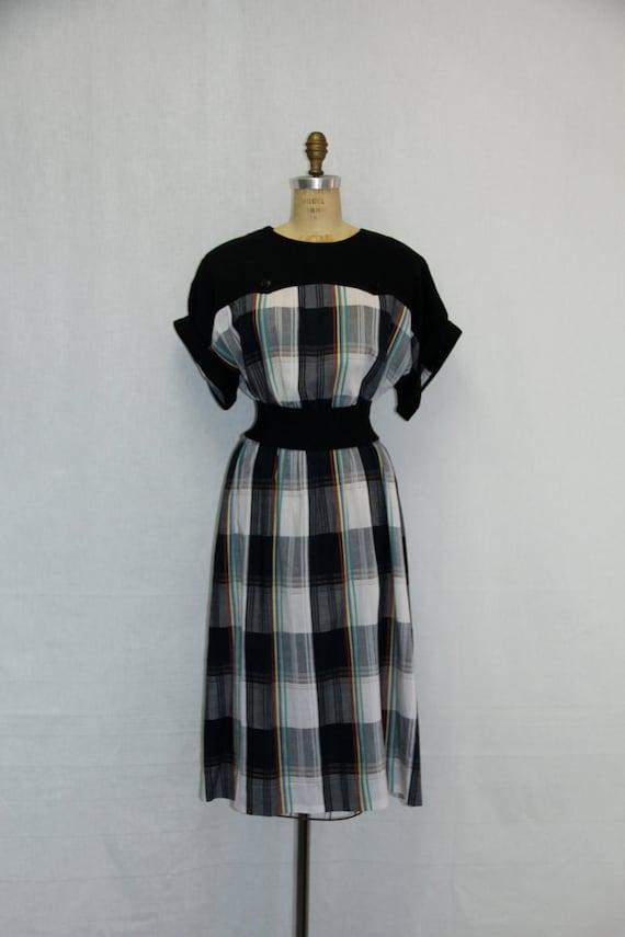 X Large Vintage Dress Plaid w Black Yoke