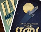Fly Me Among The Stars - Poster Art Print Combo