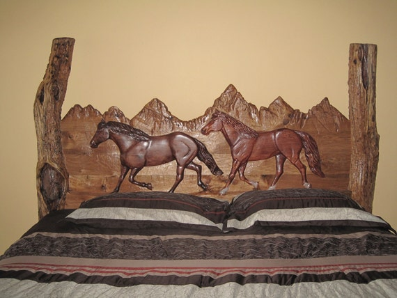 Items similar to butter nut hand carved log king sized bed