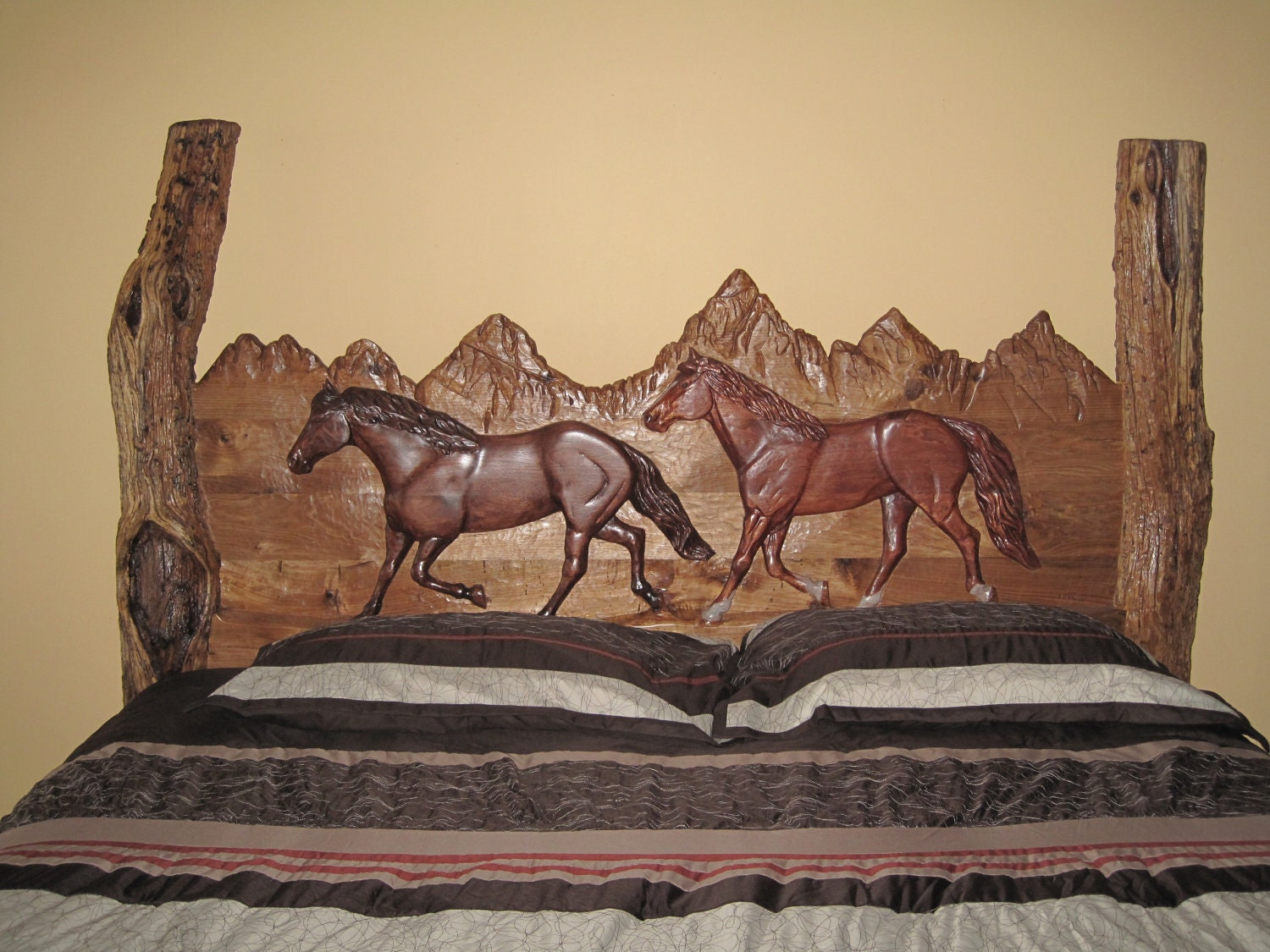 Butter nut hand carved log king sized bed