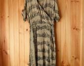1940s/50s moss green faux wrap dress 28 waist