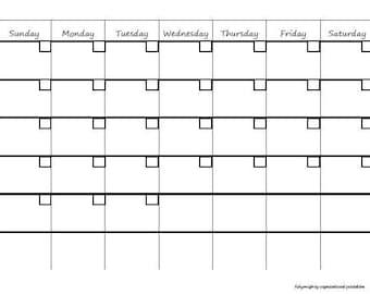 Blank Monthly Calendar / Organizer - Printable PDF (INSTANT DOWNLOAD)
