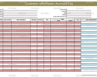 Customer Wholesale Account Log / Organizer - Printable PDF (INSTANT DOWNLOAD)
