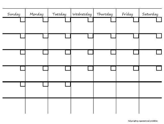 Blank Monthly Calendar / Organizer - Printable PDF (INSTANT DOWNLOAD)