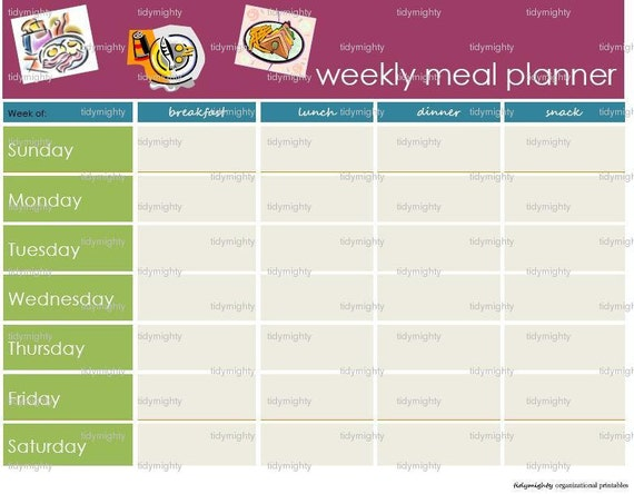 Weekly Meal (Menu) Planner - Printable PDF (INSTANT DOWNLOAD)