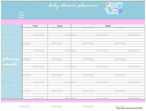 baby shower planner organizer printable pdf instant