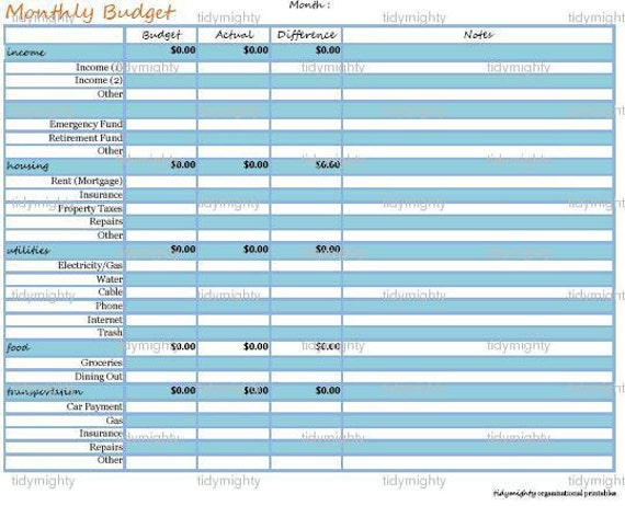 Budget / Personal Finance Organizer Kit (4 Documents) - Customizable Excel / Printable PDF (INSTANT DOWNLOAD)