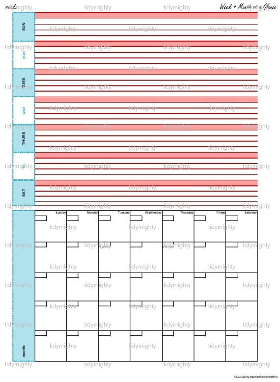 Week / Month Calendar / Organizer - Printable PDF (INSTANT DOWNLOAD)