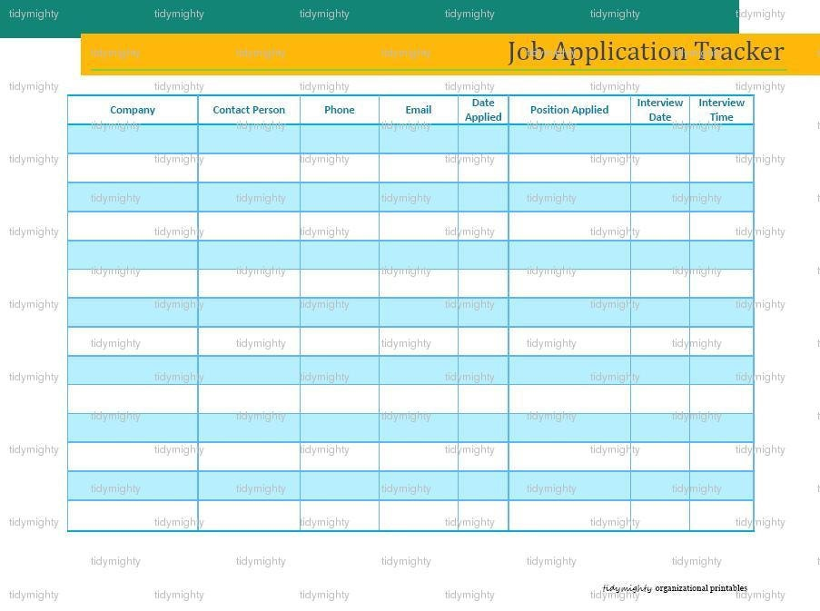 Job Application Tracker Organizer Printable Pdf By