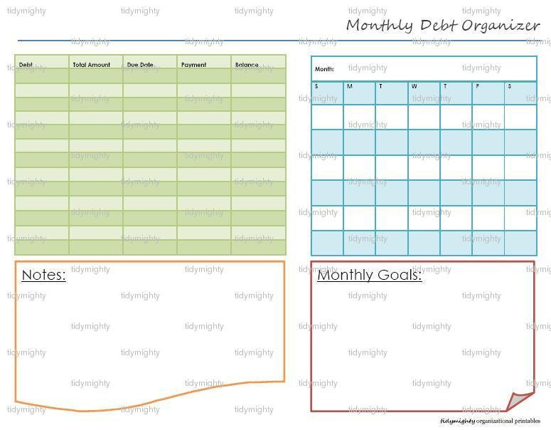 Monthly Debt Organizer / Tracker Printable PDF by tidymighty