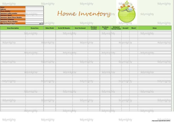 Home Inventory List Tracker Organizer Customizable Excel – House Inventory List Template