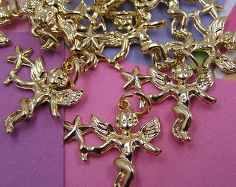 024 Gold Angel Cherub Charms