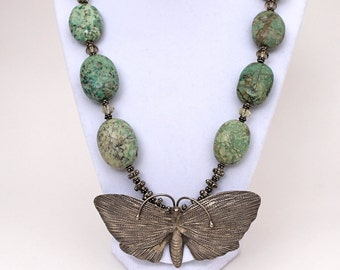 Butterfly Necklace Sterling Silver with Turquoise Gemstones