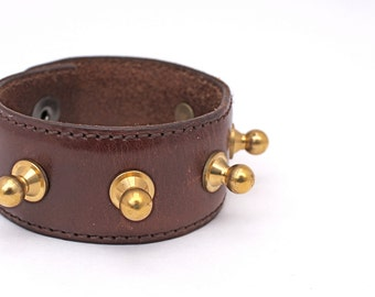 Brown Leather Cuff with Brass Rounded Studs
