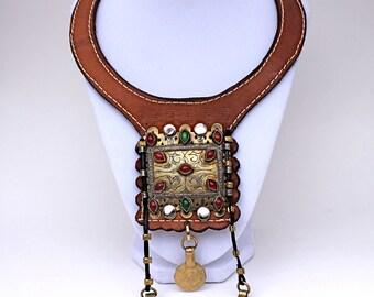 Unique  handmade leather choker necklace