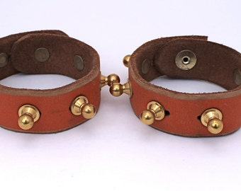 Round Punk Studded leather bracelets