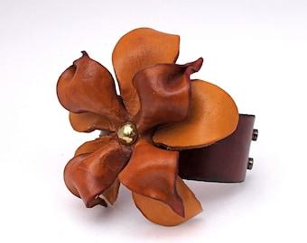 Rustic Bohemian Leather Flower Bracelet