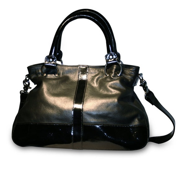 Black Two Tone Leather  Mini Satchel  Ready to Ship