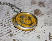 YELLOW color, hand stamped wax seal pendant. Your choice of letter A-Z