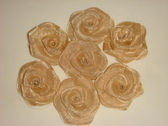 15 antique golden mesh roses , approx 1.1 inch in length