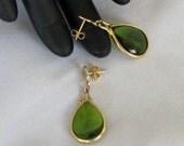 Vintage Revamped Green & Gold Drop Earrings