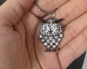 Vintage Revamped Rhinestone Owl Pendant w/ Necklace