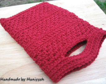 Nook or Kindle cover  -handmade crochet in cherry Red
