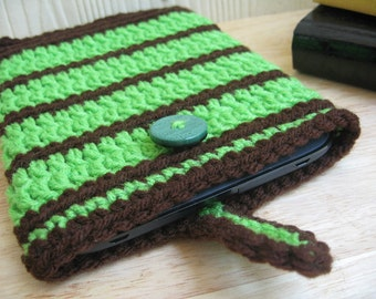 MARKDOWN SALE!! - Nook Simple Touch cover Case Sleeve Jacket Bag - Chocolate Brown & Green