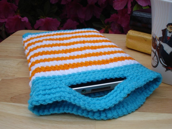 Nook Color Tablet or Kindle Touch Fire Keyboard, Crochet Sleeve Jacket Cover Case