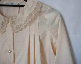 Silky Peach Trapeze Lace Detail Blouse