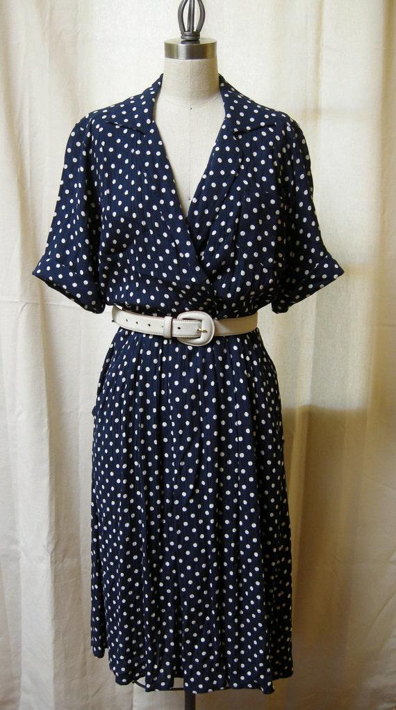 50s Style Navy Polka Dot Day Dress