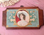 vintage lady cameo with feather hat  wall hanging by MellaFina