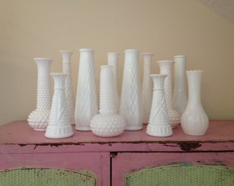 SALE Vintage white Milk glass vases / instant collection / vintage milk glass / white bud vases / vintage wedding / boho wedding decor