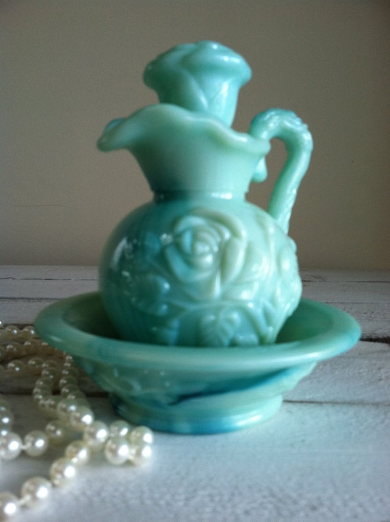 Vintage Avon Mint Green Milk Glass Decanter Bottle With
