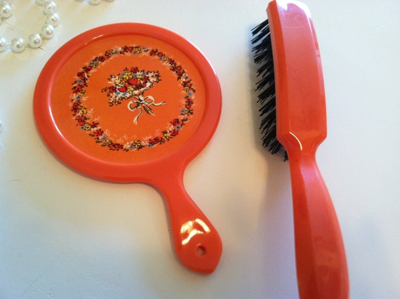 Vintage Orange hand held mirror and brush  orange vanity set with floral design great gift for child or young teen