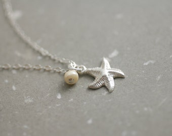 Tiny Starfish & Freshwater Pearl Necklace - bridesmaid gift - bridesmaid jewelry - wedding jewelry - delicate necklace - delicate jewelry