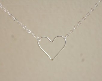 Open heart sterling silver necklace - delicate dainty jewelry - valentine's day jewelry
