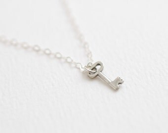 Tiny sterling silver key necklace - simple dainty jewelry - valentine's day jewelry - key to my heart charm