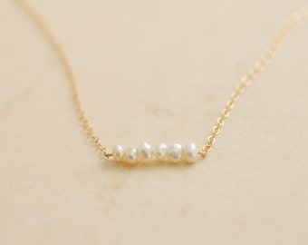 Tiny organic freshwater pearls gold necklace - bridesmaid gift - bridesmaid jewelry - wedding jewelry - bridal jewelry - delicate jewelry