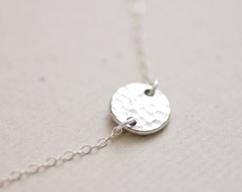 Silver dot necklace - Silver hammered round coin on sterling silver chain necklace - simple everyday jewelry