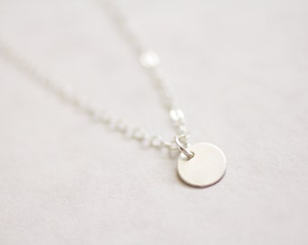 Tiny silver dot necklace - sterling silver coin & chain - simple delicate jewelry