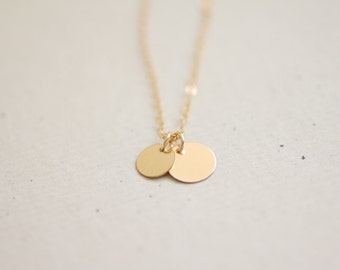 Gold filled double layered coin discs necklace - delicate simple jewelry