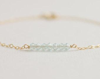 Wish - aqua swarovski crystal beaded bar gold filled bracelet - friendship bracelet - bridesmaid gift - best friend gift - danity jewelry